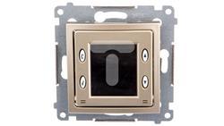 Simon 54 Termostat elektroniczny 8 programów z wewnętrznym czujnikiem temperatury złoty mat D75817.01/44-20322