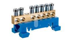Zacisk przyłączeniowy na TS35, neutralny N, 7-polowy, 7x16mm2 870N/7 niebieski 89810003-42994
