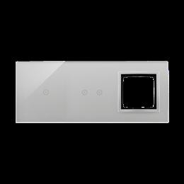 Panel dotykowy 3 moduły 1 pole dotykowe, 2 pola dotykowe poziome, otwór na osprzęt Simon 54, srebrna mgła-251884