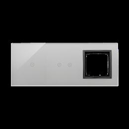 Panel dotykowy 3 moduły 1 pole dotykowe, 2 pola dotykowe poziome, otwór na osprzęt Simon 54, burzowa chmura-251911