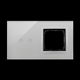 Panel dotykowy 2 moduły 2 pola dotykowe poziome, otwór na osprzęt Simon 54, srebrna mgła-251857