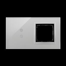 Panel dotykowy 2 moduły 2 pola dotykowe pionowe, otwór na osprzęt Simon 54, srebrna mgła-251862