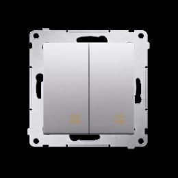 Łącznik krzyżowy podwójny (moduł) 10AX 250V, szybkozłącza, srebrny mat, metalizowany-252299