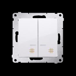 Łącznik krzyżowy podwójny z podświetleniem LED (moduł) 10AX 250V, szybkozłącza, biały-252328