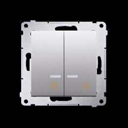 Łącznik krzyżowy podwójny z podświetleniem LED (moduł) 10AX 250V, szybkozłącza, srebrny mat, metalizowany-252330