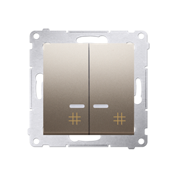Łącznik krzyżowy podwójny z podświetleniem LED (moduł) 10AX 250V, szybkozłącza, złoty mat, metalizowany-252331