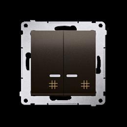 Łącznik krzyżowy podwójny z podświetleniem LED (moduł) 10AX 250V, szybkozłącza, brąz mat, metalizowany-252332