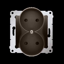 Gniazdo wtyczkowe podwójne bez uziemienia z przesłonami torów prądowych do ramek Nature (moduł) 16A 250V, zaciski śrubowe, brąz