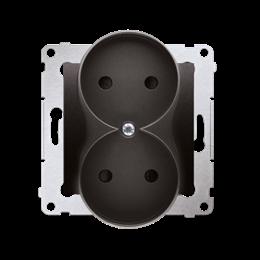 Gniazdo wtyczkowe podwójne bez uziemienia z przesłonami torów prądowych do ramek Nature (moduł) 16A 250V, zaciski śrubowe, antra