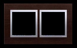 Ramka 2- krotna drewniana srebrne wenge-251492