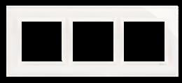 Ramka 3- krotna szklana biała perła-251495