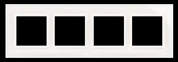 Ramka 4- krotna szklana biała perła-251522