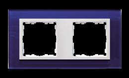Ramka 2- krotna szklana morski / biała-250915