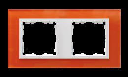 Ramka 2- krotna szklana mandarynka / biała-250914