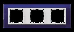 Ramka 3- krotna szklana morski / biała-250931