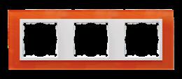 Ramka 3- krotna szklana mandarynka / biała-250930