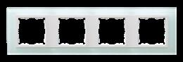 Ramka 4- krotna szklana naturalny / biała-250941