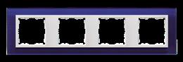 Ramka 4- krotna szklana morski / biała-250947