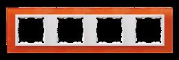 Ramka 4- krotna szklana mandarynka / biała-250946