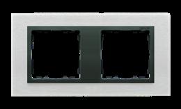 Ramka 2- krotna metalowa inox mat / grafit-250919