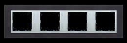 Ramka 4- krotna metalowa inox czarny / aluminium-250952