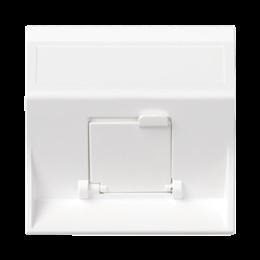 Plakietka teleinformatyczna SIMON 500 do adapterów MD pojedyncza skośna z osłoną 50×50mm czysta biel-256435