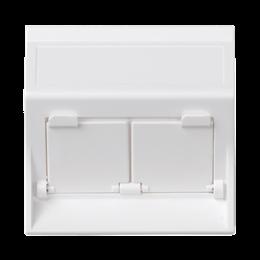 Plakietka teleinformatyczna SIMON 500 do adapterów MD podwójna skośna z osłonami 50×50mm czysta biel-256460