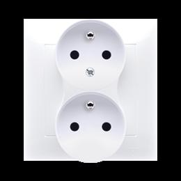 Gniazdo wtyczkowe podwójne z uziemieniem z funkcją niezmienności faz (kompletny produkt) 16A 250V, zaciski śrubowe, biały-252485