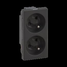Gniazdo podwójne SIMON 500 z bolcem uziemiającym 16A 250V szybkozłącza/nożowe 100×50mm szary grafit-256293