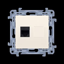 Gniazdo komputerowe pojedyncze ekranowane RJ45 kategoria 6 kremowy-254519