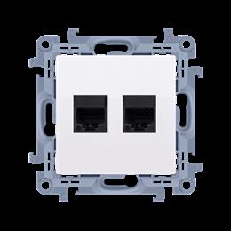 Gniazdo komputerowe podwójne ekranowane RJ45 kategoria 6 biały-254522