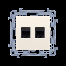 Gniazdo komputerowe podwójne ekranowane RJ45 kategoria 6 kremowy-254529