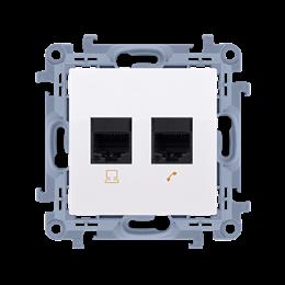 Gniazdo komputerowe RJ45 kategoria 6 + telefoniczne RJ11 biały-254530