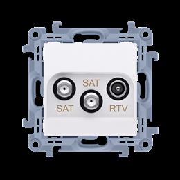 Gniazdo antenowe SAT-SAT-RTV satelitarne podwójne tłum.:1dB biały-254492
