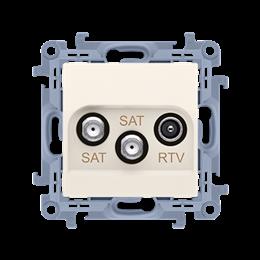 Gniazdo antenowe SAT-SAT-RTV satelitarne podwójne tłum.:1dB kremowy-254493
