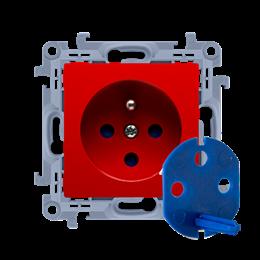 Gniazdo wtyczkowe pojedyncze DATA z kluczem uprawniającym czerwony 16A-254446