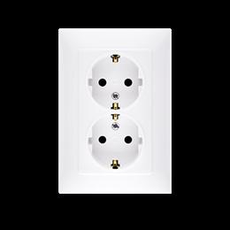 Gniazdo wtyczkowe podwójne z uziemieniem typu Schuko z przesłonami torów prądowych biały 16A-254473