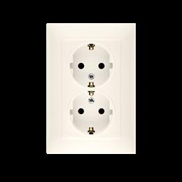 Gniazdo wtyczkowe podwójne z uziemieniem typu Schuko z przesłonami torów prądowych kremowy 16A-254474