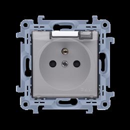 Gniazdo wtyczkowe pojedyncze do wersji IP44 z przesłonami torów prądowych - bez uszczelki -  klapka w kolorze transparentnym bia