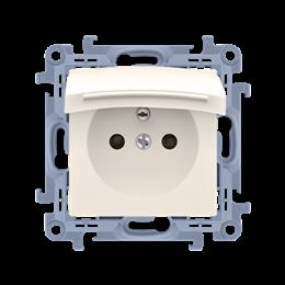 Gniazdo wtyczkowe pojedyncze do wersji IP44 z przesłonami torów prądowych - bez uszczelki - klapka w kolorze pokrywy kremowy 16A
