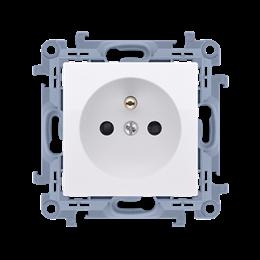 Gniazdo wtyczkowe pojedyncze z uziemieniem z przesłonami torów prądowych biały 16A-254411
