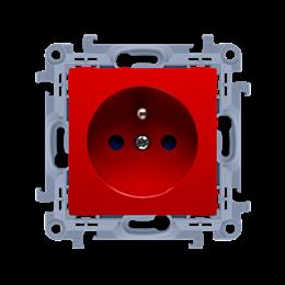 Gniazdo wtyczkowe pojedyncze z uziemieniem z przesłonami torów prądowych czerwony 16A-254413