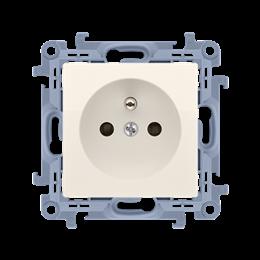 Gniazdo wtyczkowe pojedyncze z uziemieniem z przesłonami torów prądowych kremowy 16A-254412
