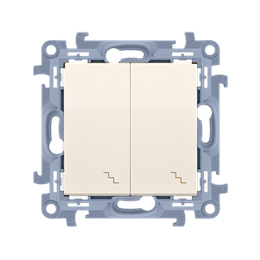 Łącznik schodowy podwójny z podświetleniem LED kremowy 10AX-254373
