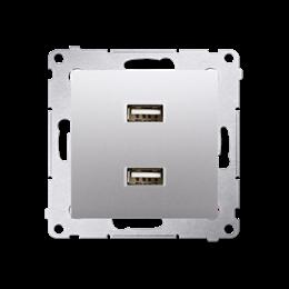 Ładowarka USB podwójna srebrny mat, metalizowany 2,1A-252879