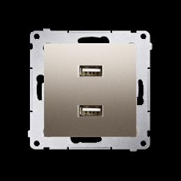 Ładowarka USB podwójna złoty mat, metalizowany 2,1A-252880