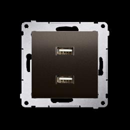 Ładowarka USB podwójna brąz mat, metalizowany 2,1A-252881