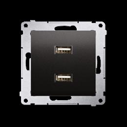Ładowarka USB podwójna antracyt, metalizowany 2,1A-252882