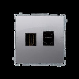 Gniazdo HDMI + komputerowe RJ45 kat.6. srebrny mat, metalizowany-254056