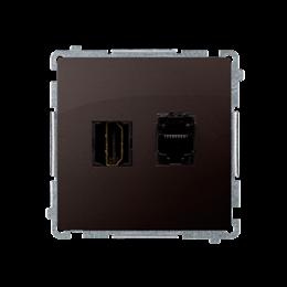 Gniazdo HDMI + komputerowe RJ45 kat.6. czekoladowy mat, metalizowany-254057
